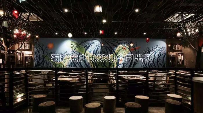 火锅店墙体彩绘 主题餐厅手绘 石家庄之典彩绘公司出品 石家庄之典墙