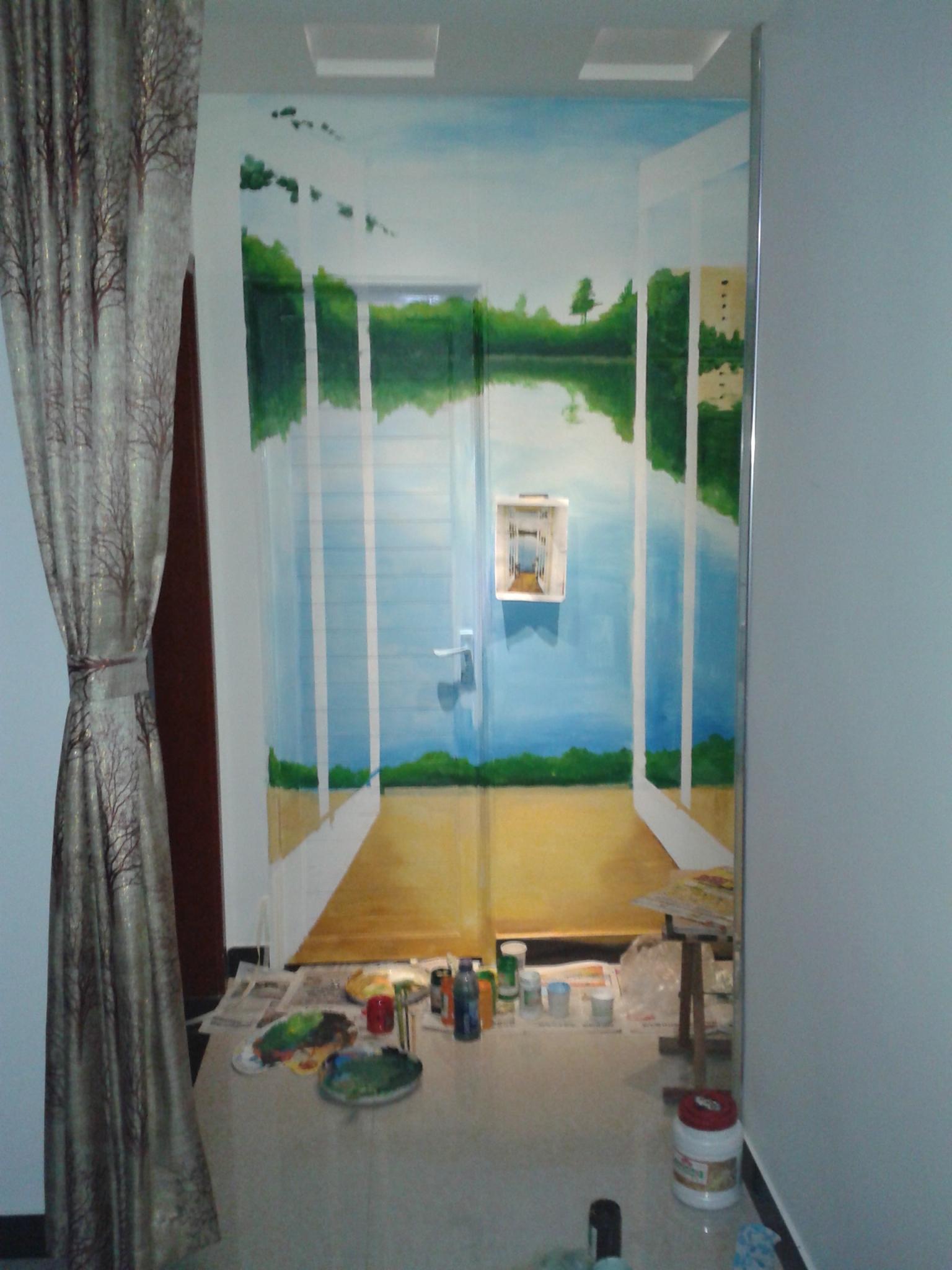 隐形门3d彩绘,手绘墙画
