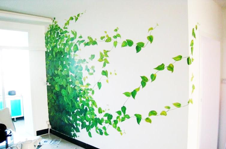 家居装修,绿色墙绘,手绘墙画,
