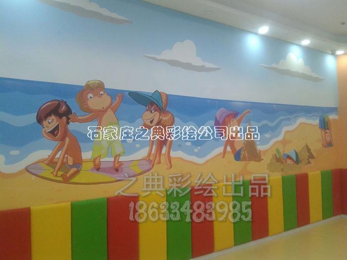 儿童游泳馆主题墙体彩绘|手绘