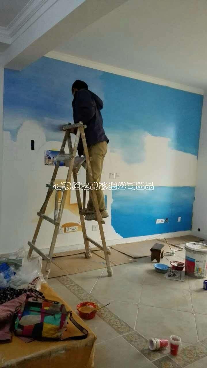 地中海风格手绘电视墙画--之典墙体彩绘出品