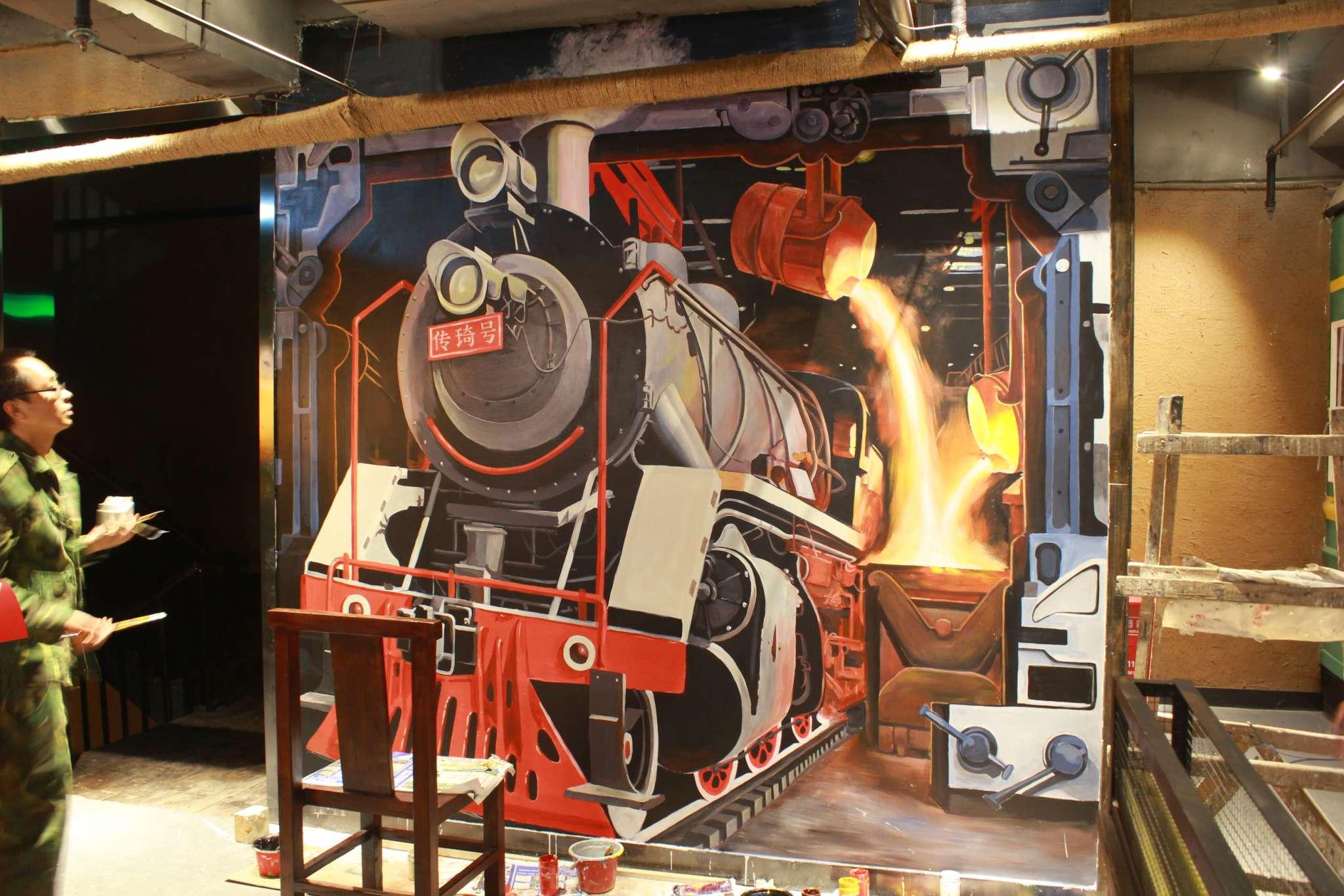 3d立体画-魔幻主题烧烤店墙绘-之典墙绘图片