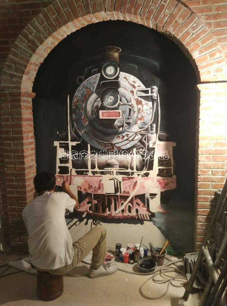 正太饭庄做旧3d立体画1907蒸汽火车-之典彩绘