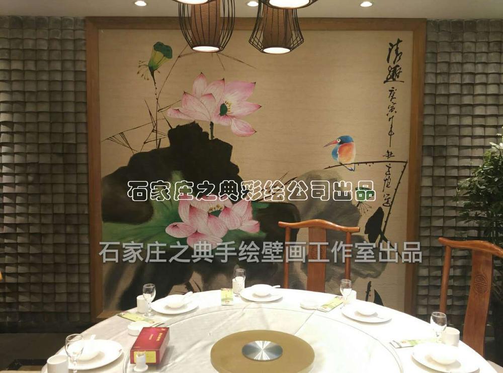 新中式餐厅包间手绘壁画--之典墙体彩绘作品 清趣>