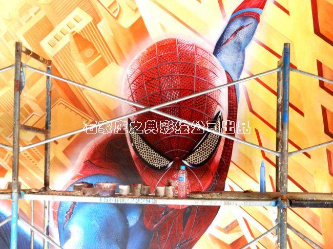 震撼视觉的3d立体画墙绘蜘蛛侠--之典彩绘