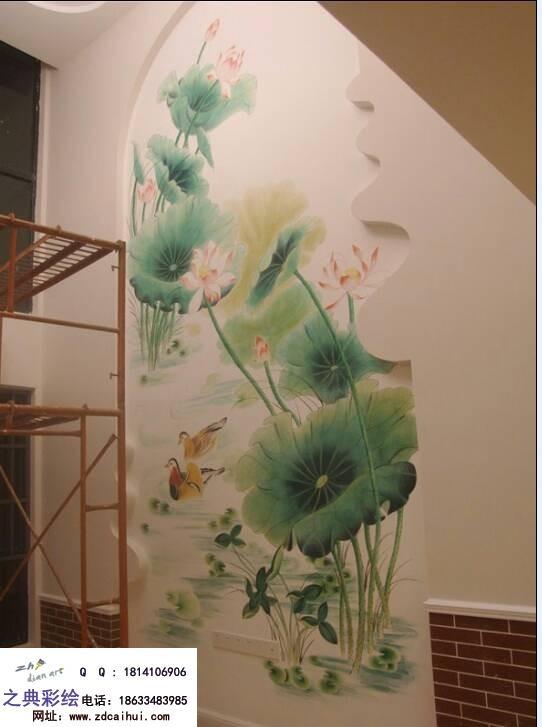 石家庄市内墙体彩绘,手绘荷花背景墙绘画!
