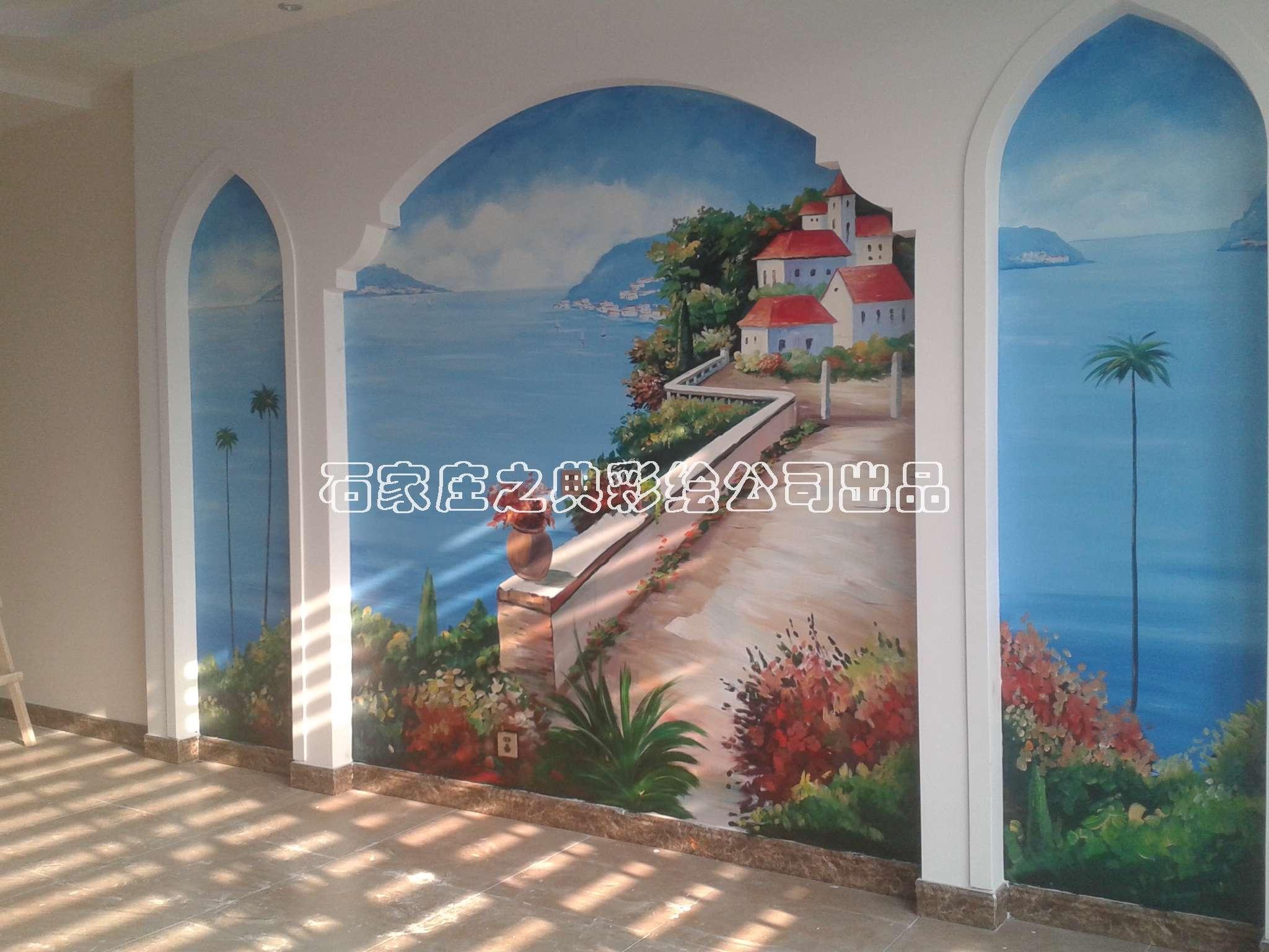 手绘电视墙画-地中海风格墙体彩绘案例-之典彩绘