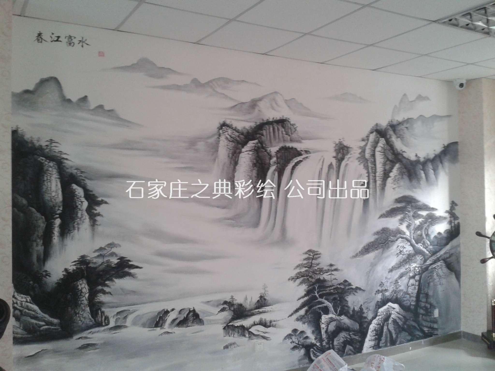 墙体彩绘山水画《春江富水》|手绘背景墙画 - 石家庄