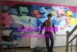 手绘抽象人物立体彩绘墙