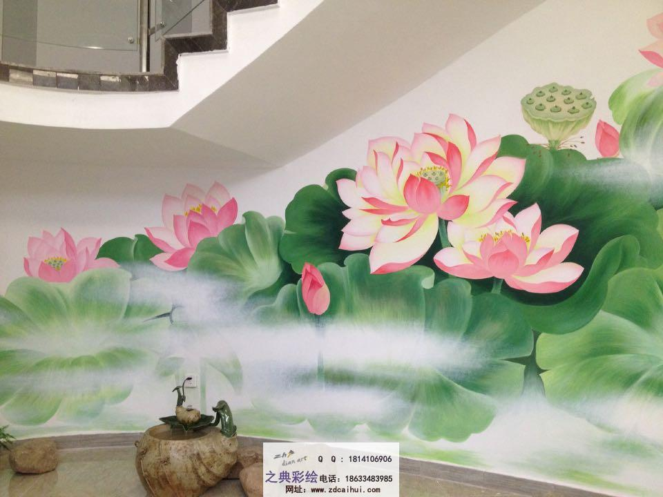 墙体彩绘-荷花-手绘墙案例