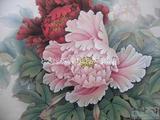 手绘壁画素材-牡丹