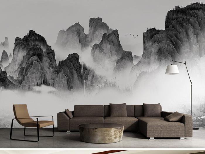 家装山水背景墙彩绘壁画