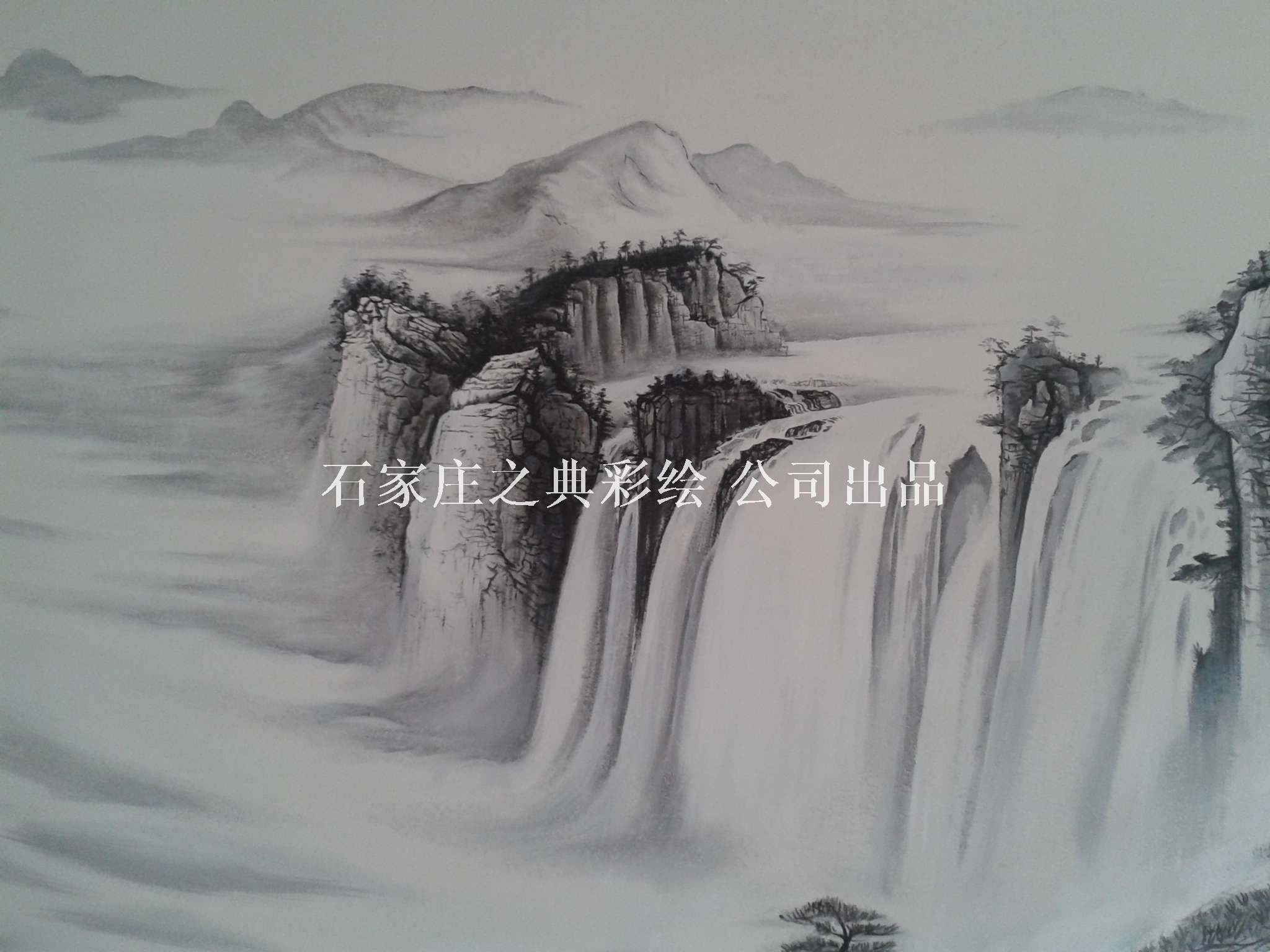 墙体彩绘山水画《春江富水》|手绘背景墙画 - ▊之典