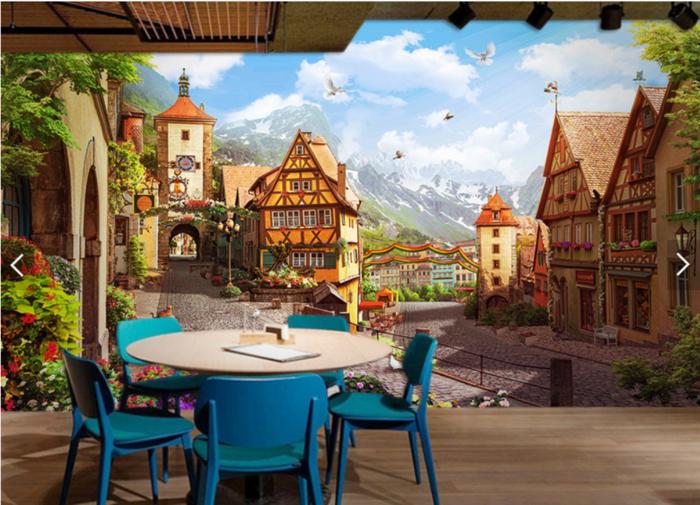 欧洲小镇墙体3D彩绘